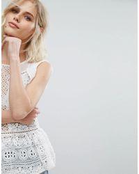 Miss Selfridge - White Lace Peplum Top - Lyst