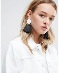 ASOS - Metallic Mono Tassel Earrings - Lyst