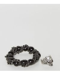 ASOS - Multicolor Bracelet And Ring Pack With Skulls - Lyst