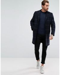 ASOS - Blue Checked Wool Mix Overcoat In Navy for Men - Lyst