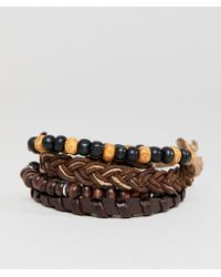 ASOS - Brown Leather And Beaded Bracelet Pack for Men - Lyst