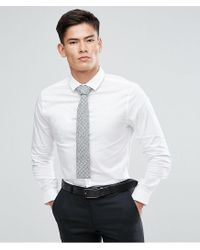 ASOS - Asos Skinny Shirt In White With Grey Design Tie Save for Men - Lyst