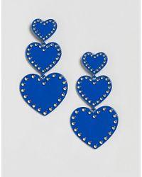 Stradivarius - Blue Triple Heart Drop Statement Earrings - Lyst