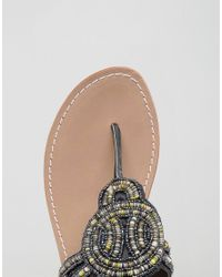 Park Lane - Black Beaded Toepost Flat Sandal - Lyst