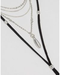 ASOS - Black Multirow Layered Cord Choker Necklace - Lyst