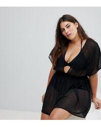 908700080a Women's Black Asos Design Curve Shirred Waist Mini Chiffon Beach Kaftan