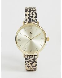 ASOS Metallic Watch With Cheetah Print Strap And Gold Tone Case