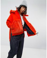 ASOS - Orange Bright Faux Fur Pocket Coat With Hood - Lyst