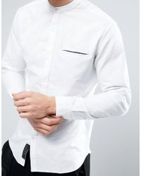 Produkt | White Chambray Shirt With Grandad Collar And Clean Pocket for Men | Lyst