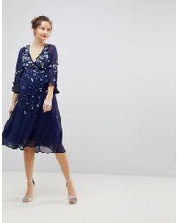 ASOS - Blue Embellished Kimono Midi Dress - Lyst