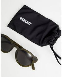 Weekday - Green Round Sunglasses In Khaki for Men - Lyst