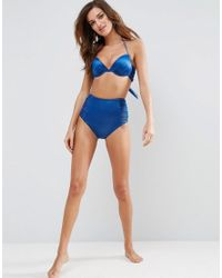 ASOS - Green Mix And Match Glam Gathered Plunge Bikini Top - Lyst