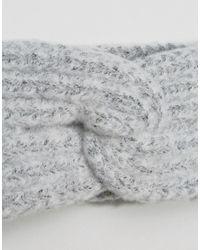 ASOS - Gray Fluffy Knit Headband - Lyst
