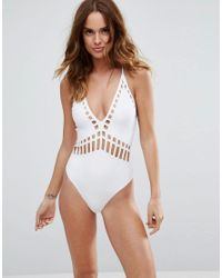 ASOS | White Neoprene Laser Cut Out Plunge Cross Back Swimsuit | Lyst