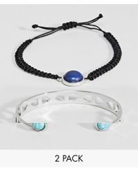 ASOS DESIGN - Metallic Pack Of 2 Stone Fabric And Cuff Bracelet - Lyst