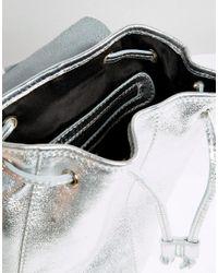 ASOS - Metallic Mini Leather Drawstring Backpack - Lyst