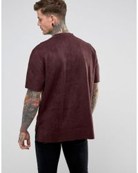 Religion - Red T-shirt In Faux Suede With Step Hem for Men - Lyst