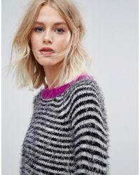 Esprit - Stripe Jumper With Pink Contrast - Lyst
