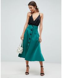 9218250aae ASOS Asos Scuba Midaxi Prom Skirt With Button Detail in Green - Lyst