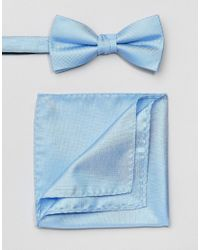 SELECTED - Blue Bow Tie & Pocket Square Set for Men - Lyst