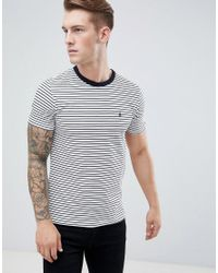 French Connection - Blue Feeder Stripe T-shirt for Men - Lyst