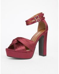 Glamorous - Red Chunky Heeled Satin Sandals - Lyst