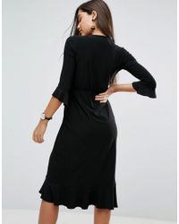 ASOS - Black Asos Wrap Front Midi Dress With Frill Detail - Lyst