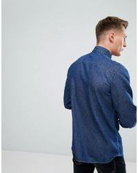 Jack & Jones - Intelligence Relaxed Fit Denim Shirt In Dark Blue Wash for Men - Lyst