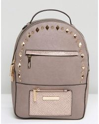Dune - Natural Studded Backpack - Lyst