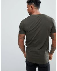 ASOS - Green Muscle Fit T-shirt In Khaki With Sleeve Print for Men - Lyst