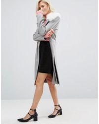River Island - Gray Longline Coat With Faux Fur Collar - Lyst
