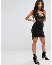 Glamorous - Black Ribbed Bodycon Pencil Skirt With Lace Up Sides - Lyst