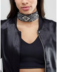 ASOS | Blue Embellished Scarf Print Choker Necklace | Lyst