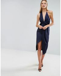 ASOS - Blue Cami Strap Twist Front Wrap Midi Dress - Lyst