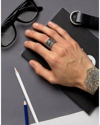 ASOS - Metallic Ring With Green Stone for Men - Lyst