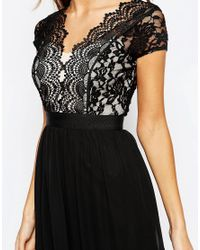 Elise Ryan - Black Scallop Lace Plunge Maxi Dress With Double Thigh Split - Lyst