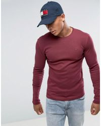 Hilfiger Denim | Red Tommy Long Sleeve Top Flag Logo In Burgundy for Men | Lyst