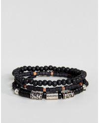 Classics 77 - Wood & Bead Black Bracelet In 3 Pack for Men - Lyst