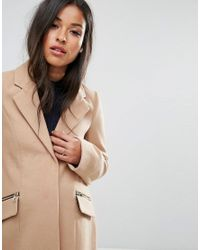 ASOS - Natural Slim Boyfriend Coat With Zip Pocket - Lyst