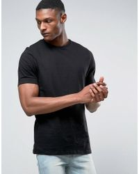 ASOS - Black Tall Longline T-shirt With Souvenir Print And Text Embroidery for Men - Lyst