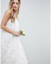ASOS - White Bridal 3d Flower Midi Trapeze Dress - Lyst
