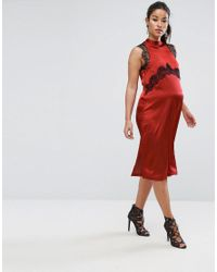 ASOS | Red Lace Insert Dress | Lyst