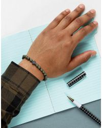 Icon Brand - Green Cross Beaded Bracelet In Khaki - Lyst