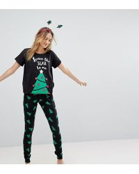 ASOS - Black Holidays Leave The Star To Me Tee And Legging Pajama Set - Lyst