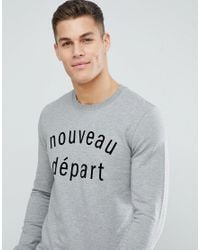 SELECTED - Gray Sweatshirt With Velour Logo for Men - Lyst