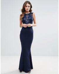 8e7f9372e13d32 Lyst - Lipsy Swirl Sequin Maxi Dress in Blue