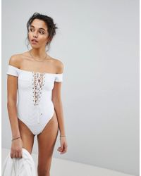 Blue Life - White Off Shoulder One Piece Swimsuit - Lyst