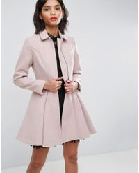 ASOS - Pink Asos Swing Coat With Full Skirt And Zip Front - Lyst