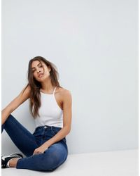 ASOS - Design Cami With Square Neck In Fitted Rib In White - Lyst