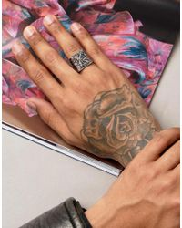 ASOS - Metallic Ring With Raised Triangle Design for Men - Lyst